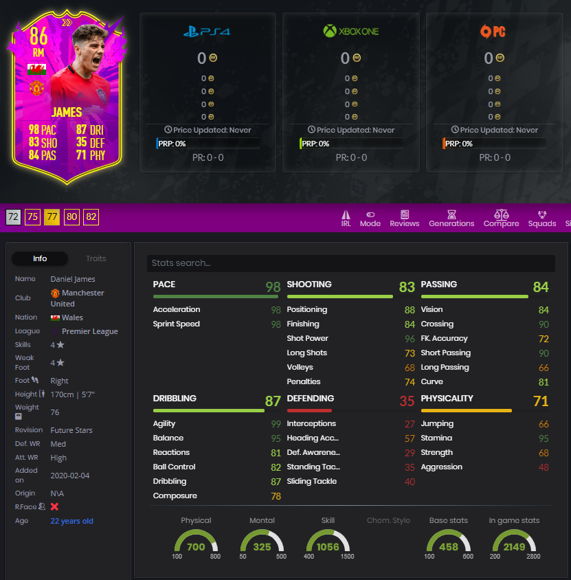Daniel James Future Stars 86 rated player stats