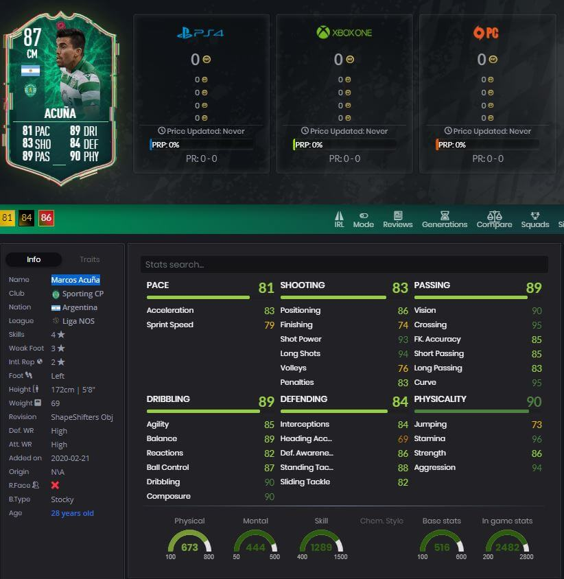 Marcos Acuna FIFA 20 Shape Shifters 87 rated player stats