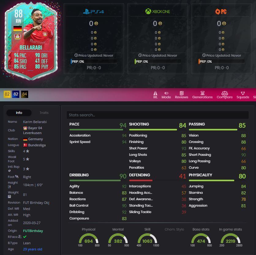 FIFA 20 FUT Bellarabi FUT Birthday Player stats