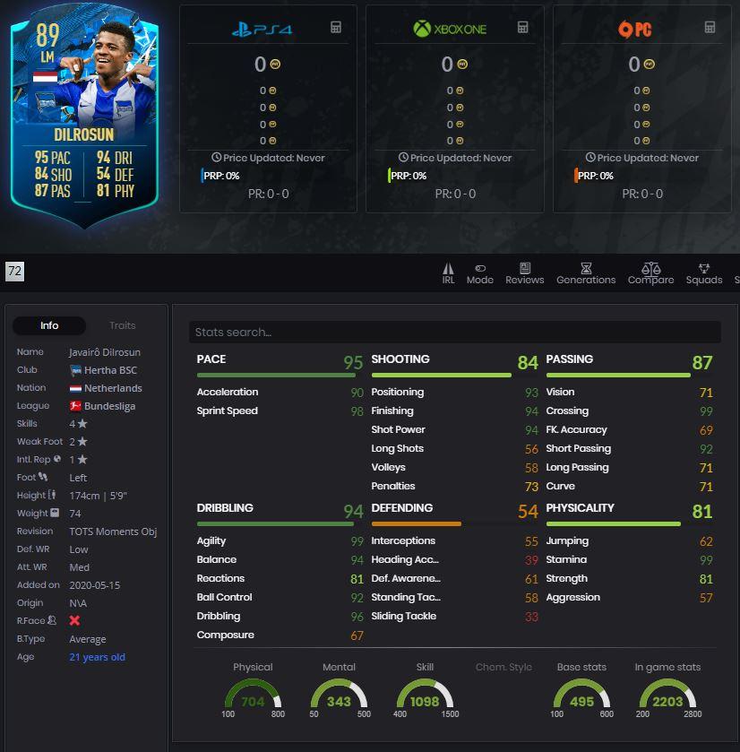 FIFA 20 FUT Dilrosun TOTSSF Moments Player Stats