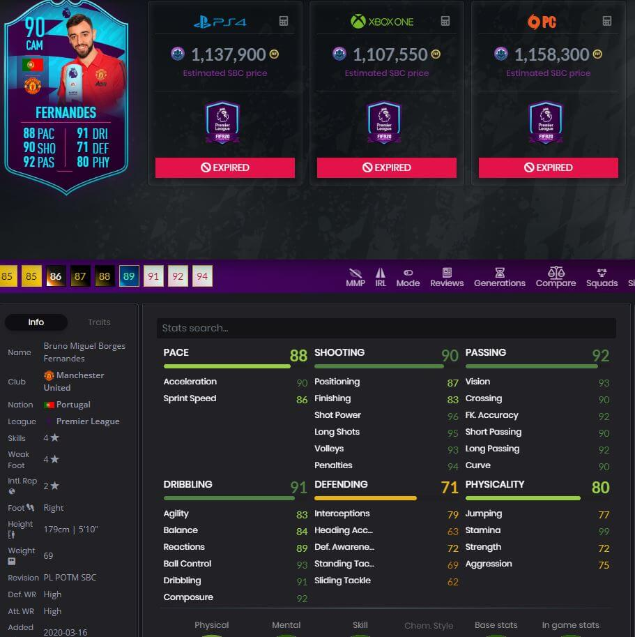 90 rated Bruno Fernandes POTM Player Stats