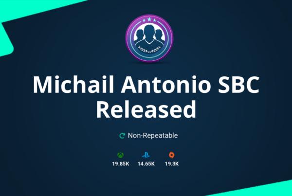 FIFA 20 Michail Antonio SBC Requirements & Rewards