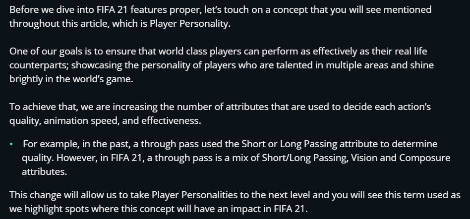 FIFA 21 Player Personality