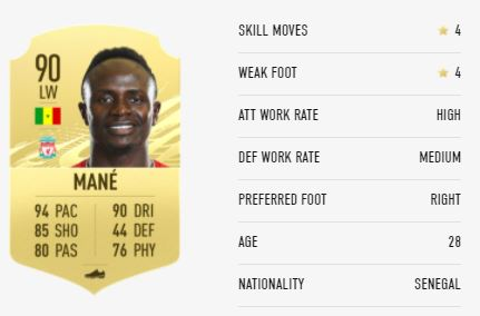 Mane FIFA 21 Player Ratings & Stats